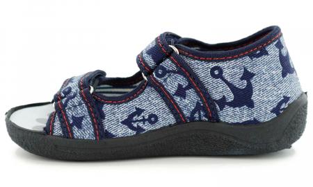 Sandale baieti cu motiv ancora (cu scai), din material textil3