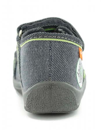 Sandale baieti gri-verde (cu scai), din material textil5