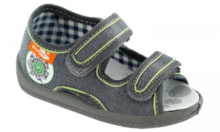 Sandale baieti gri-verde (cu scai), din material textil1