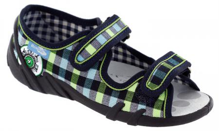 Sandale baieti in carouri colorate (cu scai), din material textil1