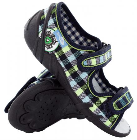 Sandale baieti in carouri colorate (cu scai), din material textil0