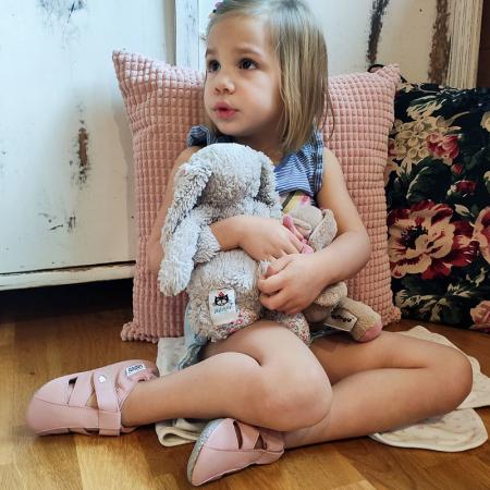 Sandale cu talpă moale Liliputi cu crampoane antialunecare - Cotton Candy5