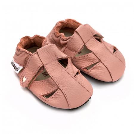 Sandale cu talpă moale Liliputi cu crampoane antialunecare - Cotton Candy1