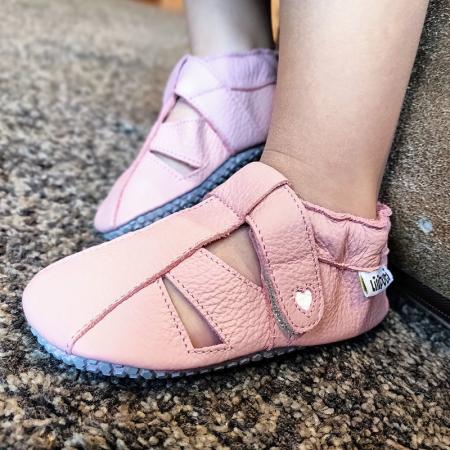 Sandale cu talpă moale Liliputi cu crampoane antialunecare - Cotton Candy3