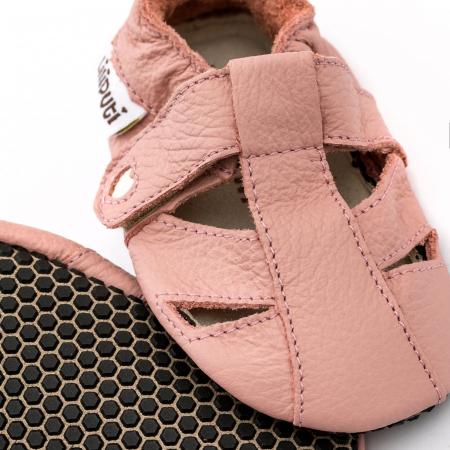 Sandale cu talpă moale Liliputi cu crampoane antialunecare - Cotton Candy2