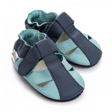 Sandale cu talpă moale Liliputi cu crampoane antialunecare - Sky [1]