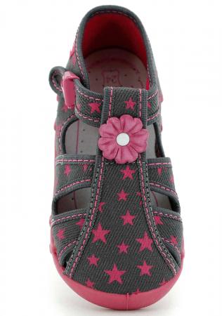 Sandale fete cu floricel si stelute (cu catarama), din material textil4