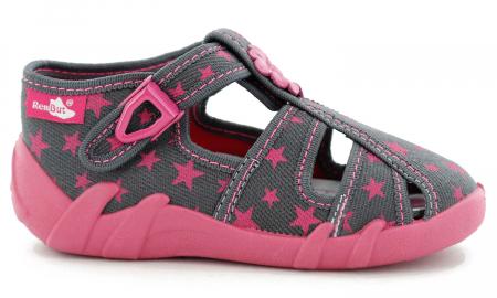 Sandale fete cu floricel si stelute (cu catarama), din material textil2