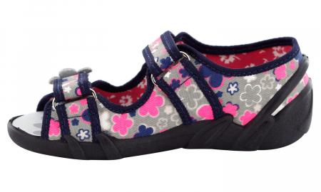 Sandale fete cu motive florale (cu scai), din material textil3