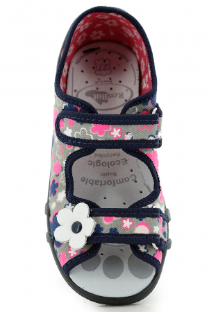 Sandale fete cu motive florale (cu scai), din material textil4