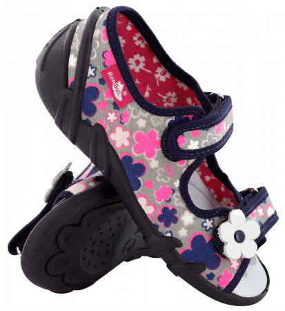 Sandale fete cu motive florale (cu scai), din material textil0