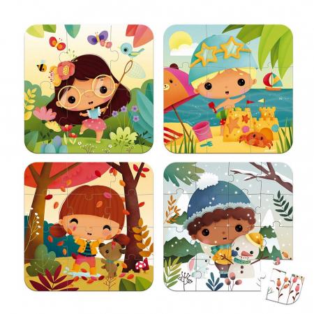 Set de 4 puzzle-uri - Anotimpuri - 6-9-12-16 piese, Janod J026581