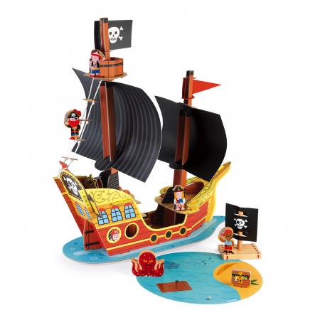 Set de joacă din lemn mini povești - Corabie de pirați - Janod J085793