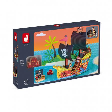 Set de joacă din lemn mini povești - Corabie de pirați - Janod J085796