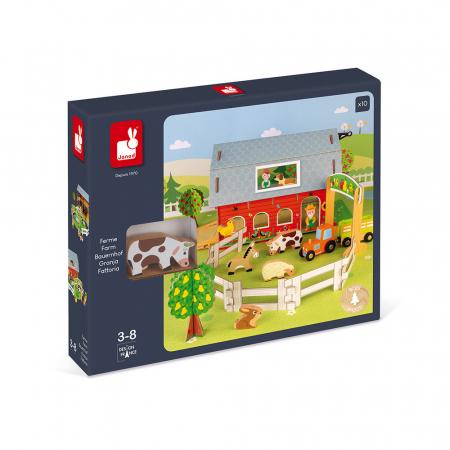 Set de joacă din lemn mini povești - Fermă cu animale - Janod J085771