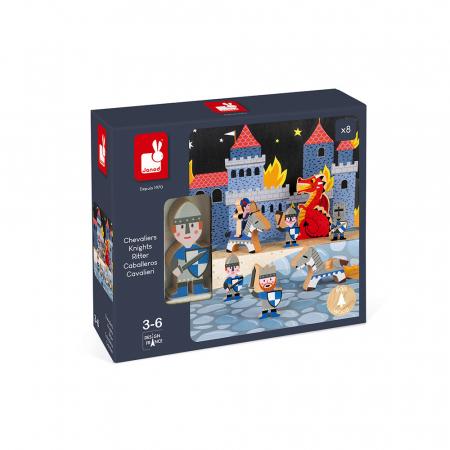 Set de joacă din lemn mini povești - Set cavalerii și dragonul - Janod J085811