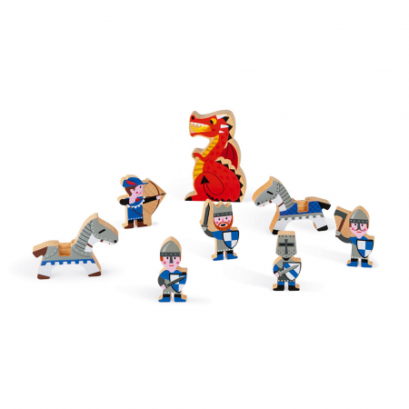 Set de joacă din lemn mini povești - Set cavalerii și dragonul - Janod J085812