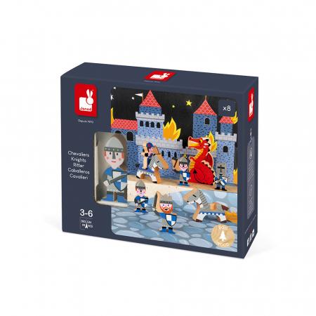 Set de joacă din lemn mini povești - Set cavalerii și dragonul - Janod J085813