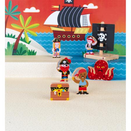 Set de joacă din lemn mini povești - Set de pirați - Janod J085802