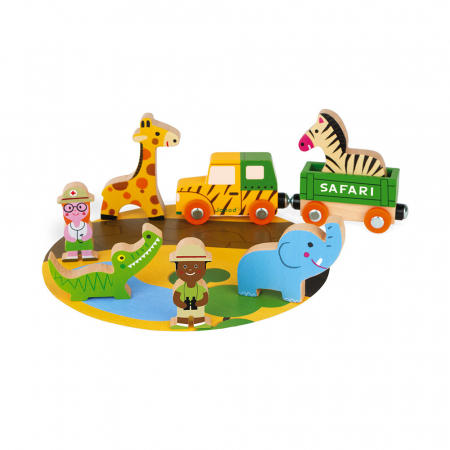 Set de joacă din lemn mini povești - Set de safari - Janod J085830