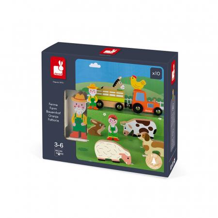 Set de joacă din lemn mini povești - Set fermă din lemn - Janod J085761