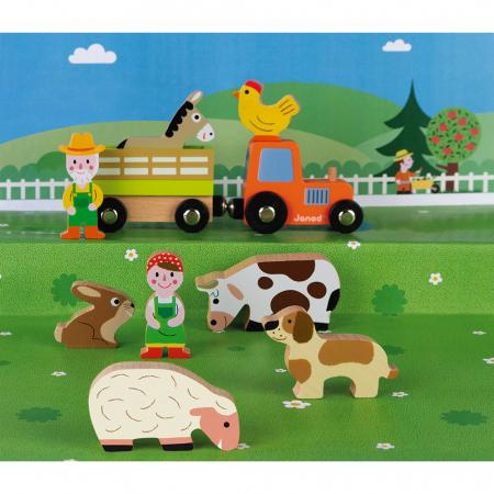 Set de joacă din lemn mini povești - Set fermă din lemn - Janod J085762