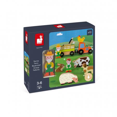 Set de joacă din lemn mini povești - Set fermă din lemn - Janod J085763