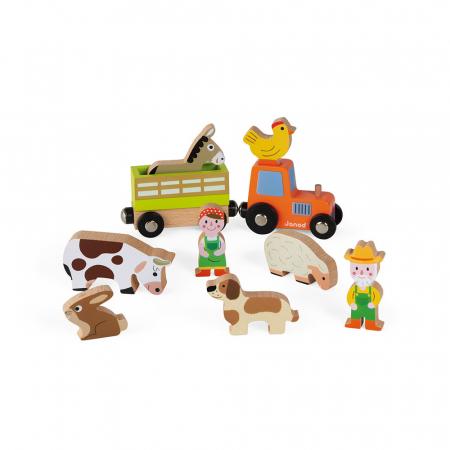Set de joacă din lemn mini povești - Set fermă din lemn - Janod J085764