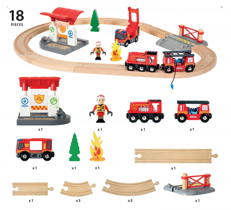 Set trenuleț pompieri, Brio 338155