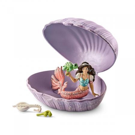 Sirena cu pui de broască țestoasă în scoică - Figurina Schleich 705620