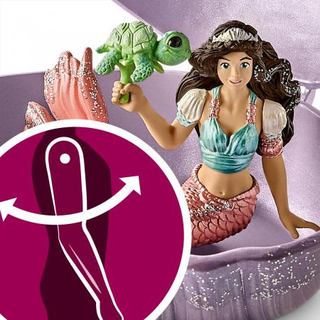 Sirena cu pui de broască țestoasă în scoică - Figurina Schleich 705623
