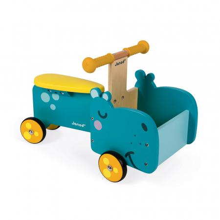 Vehicul din lemn - Hipopotam cu depozitare - Janod J080030