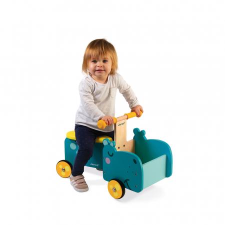 Vehicul din lemn - Hipopotam cu depozitare - Janod J080032