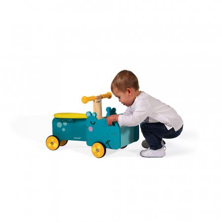 Vehicul din lemn - Hipopotam cu depozitare - Janod J080033