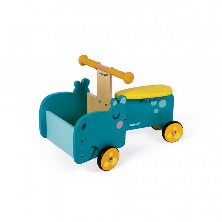Vehicul din lemn - Hipopotam cu depozitare - Janod J080036