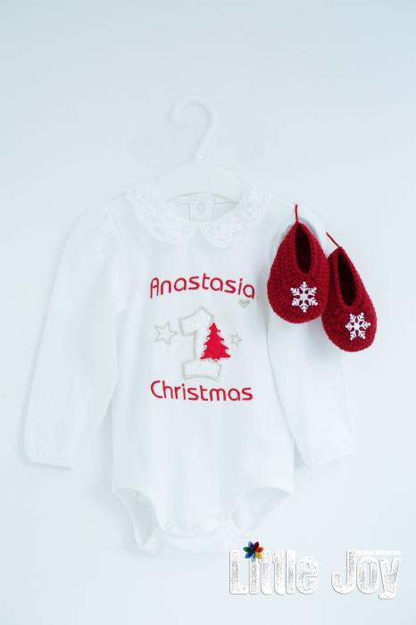 Set Body Brodat Crăciun - Anastasia + botoșei 0