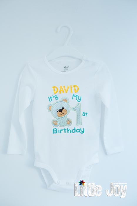 Body Brodat prima aniversare Ursuleț - David 0