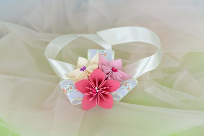 Brățară 3 flori hârtie - Diverse culori 4