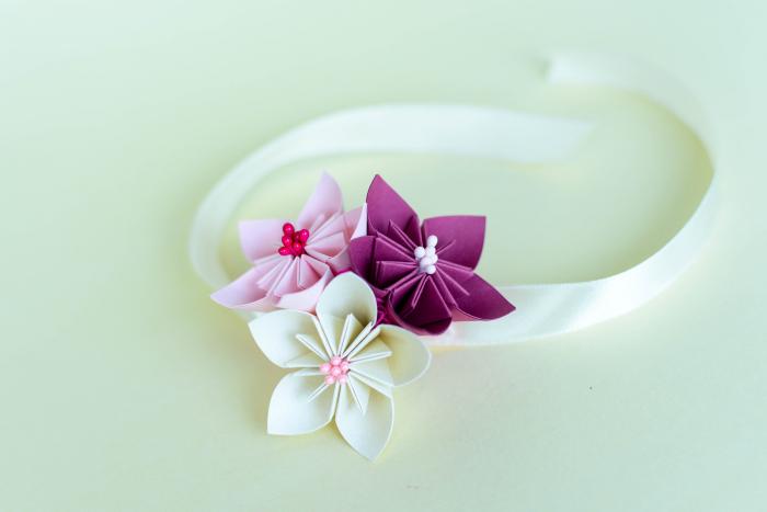 Brățară 3 flori hârtie - Diverse culori 1