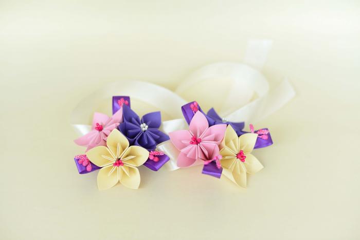 Brățară 3 flori hârtie - Diverse culori 3