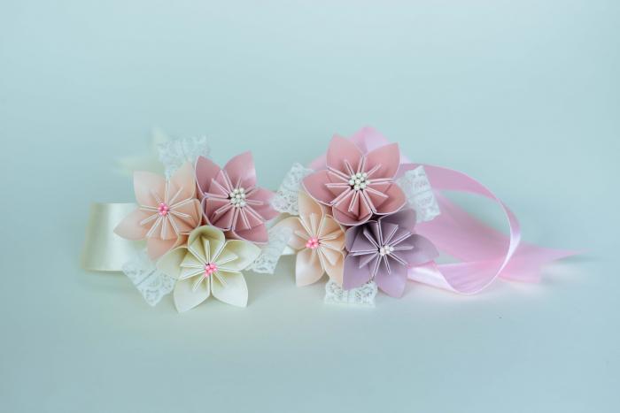 Brățară 3 flori hârtie - Diverse culori 7