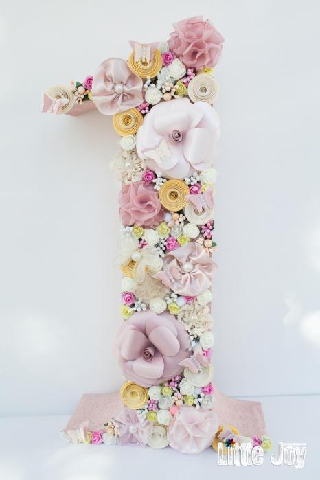 Cifra 1 - 48 cm - Flori hârtie+textile [0]