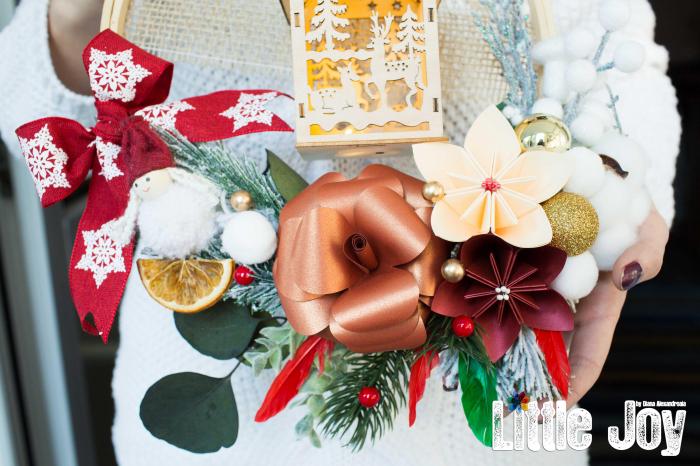Coroniță Crăciun - Cărămiziu Căsuță luminoasă 1