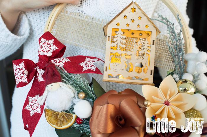 Coroniță Crăciun - Cărămiziu Căsuță luminoasă 2