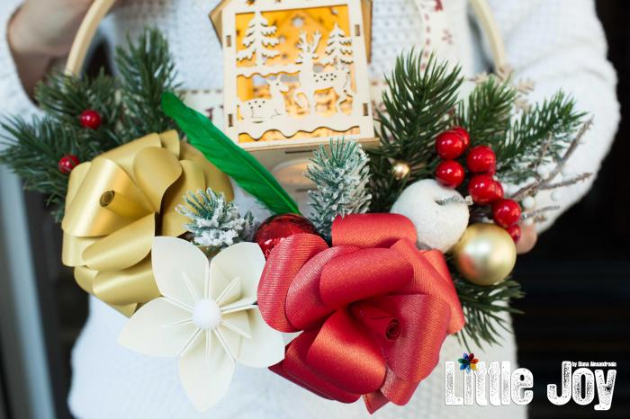 Coroniță Crăciun - Roșu Căsuță luminoasă 1