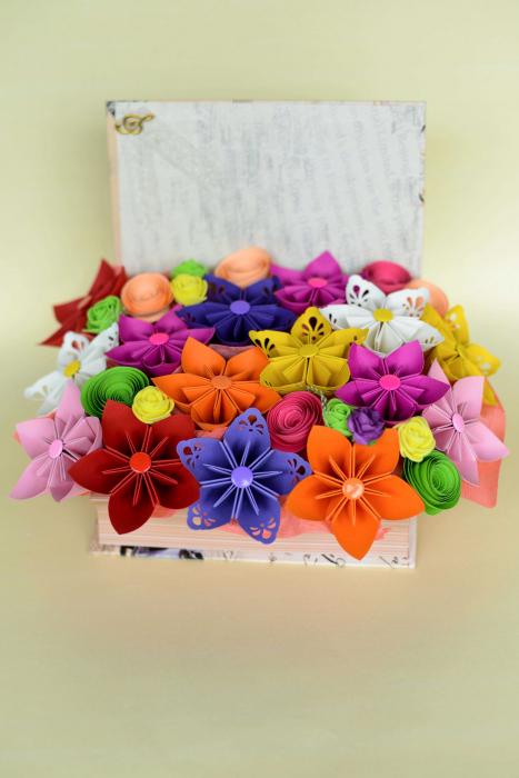 Cutie carte - Flori hârtie [1]