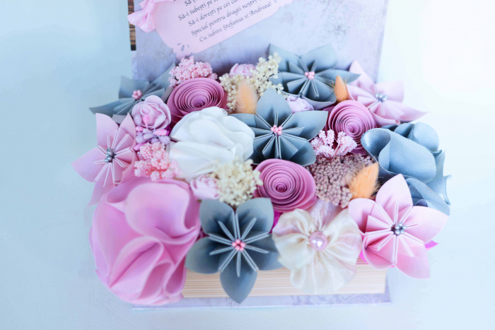 Cutie carte - Flori hârtie/ Flori textile [2]