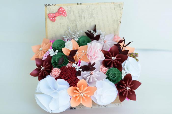 Cutie carte - Flori hârtie/ Flori textile 3