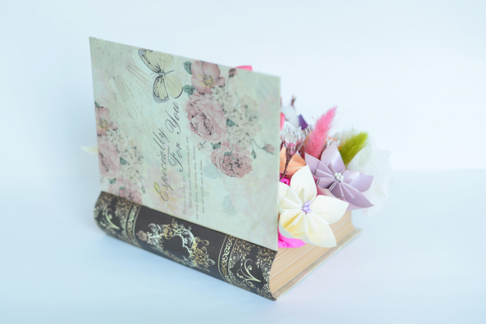 Cutie carte - Flori hârtie/ Flori textile 2