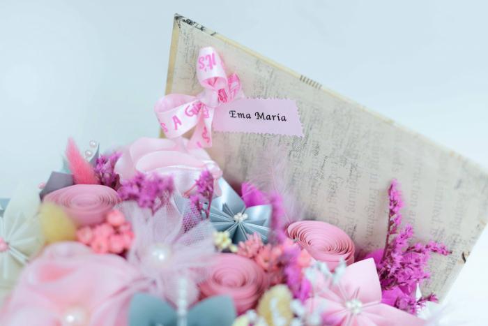 Cutie carte - Flori hârtie/ Flori textile 1
